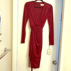 Altuzarra Long Sleeve Red Satin Dress